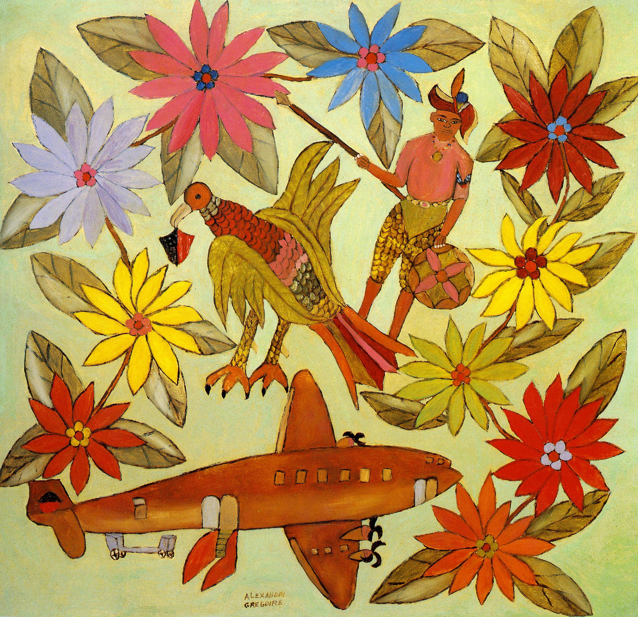 Flowers, Pentad with Haitian Crest, Indigenous Haitian and Air Haiti, 1960