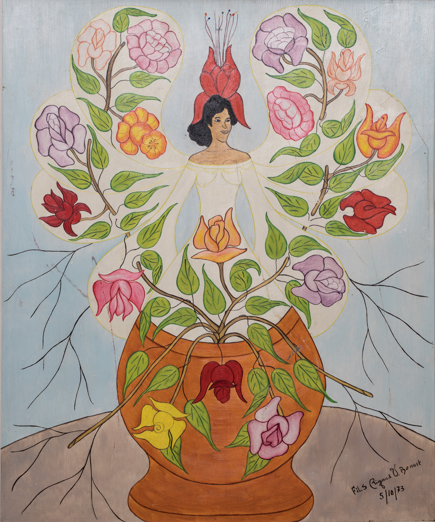 Woman in vase with flowers, 1973.