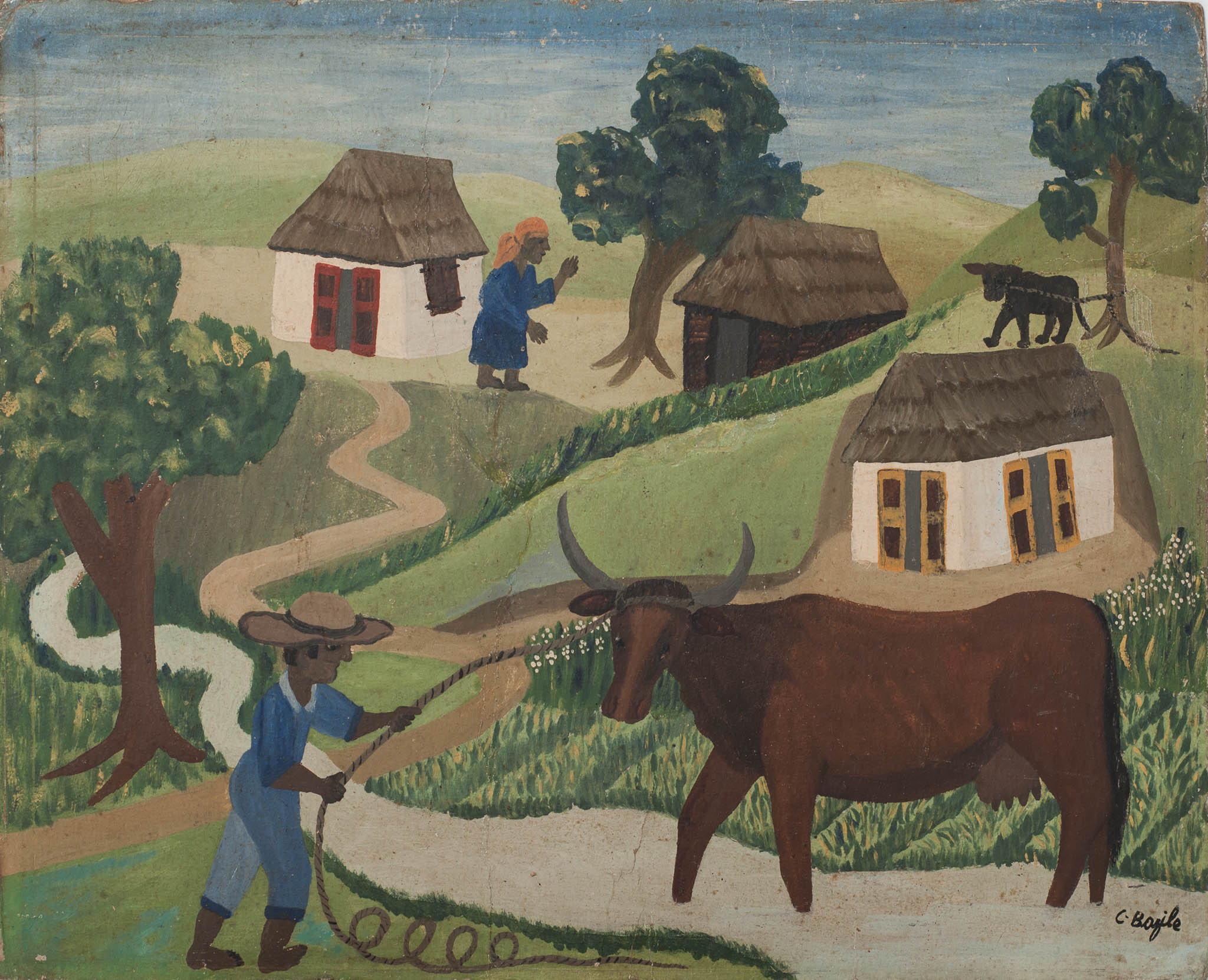 Untitled (Man roping Ox)