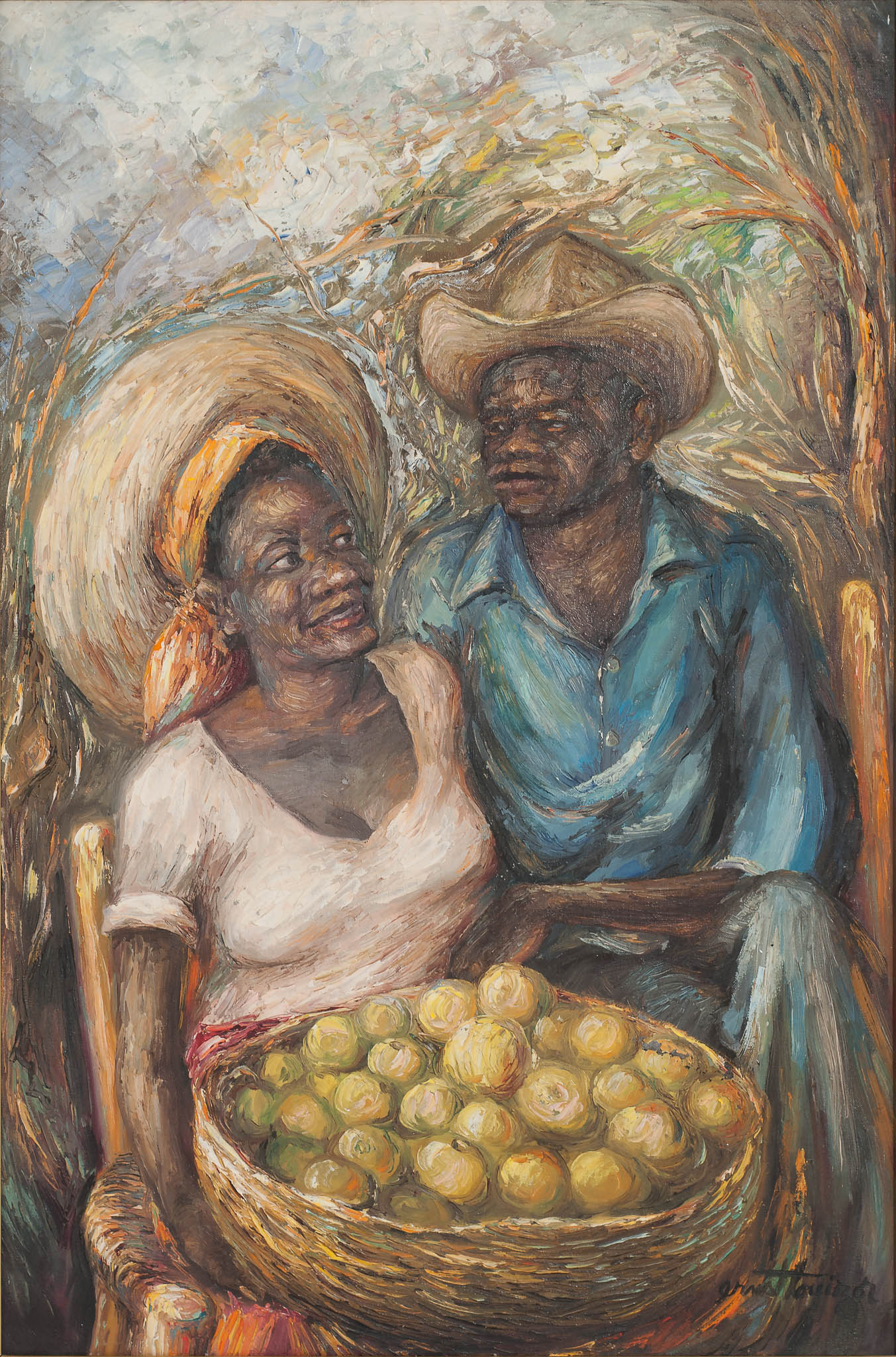 Couple with Fruit Basket, 1977