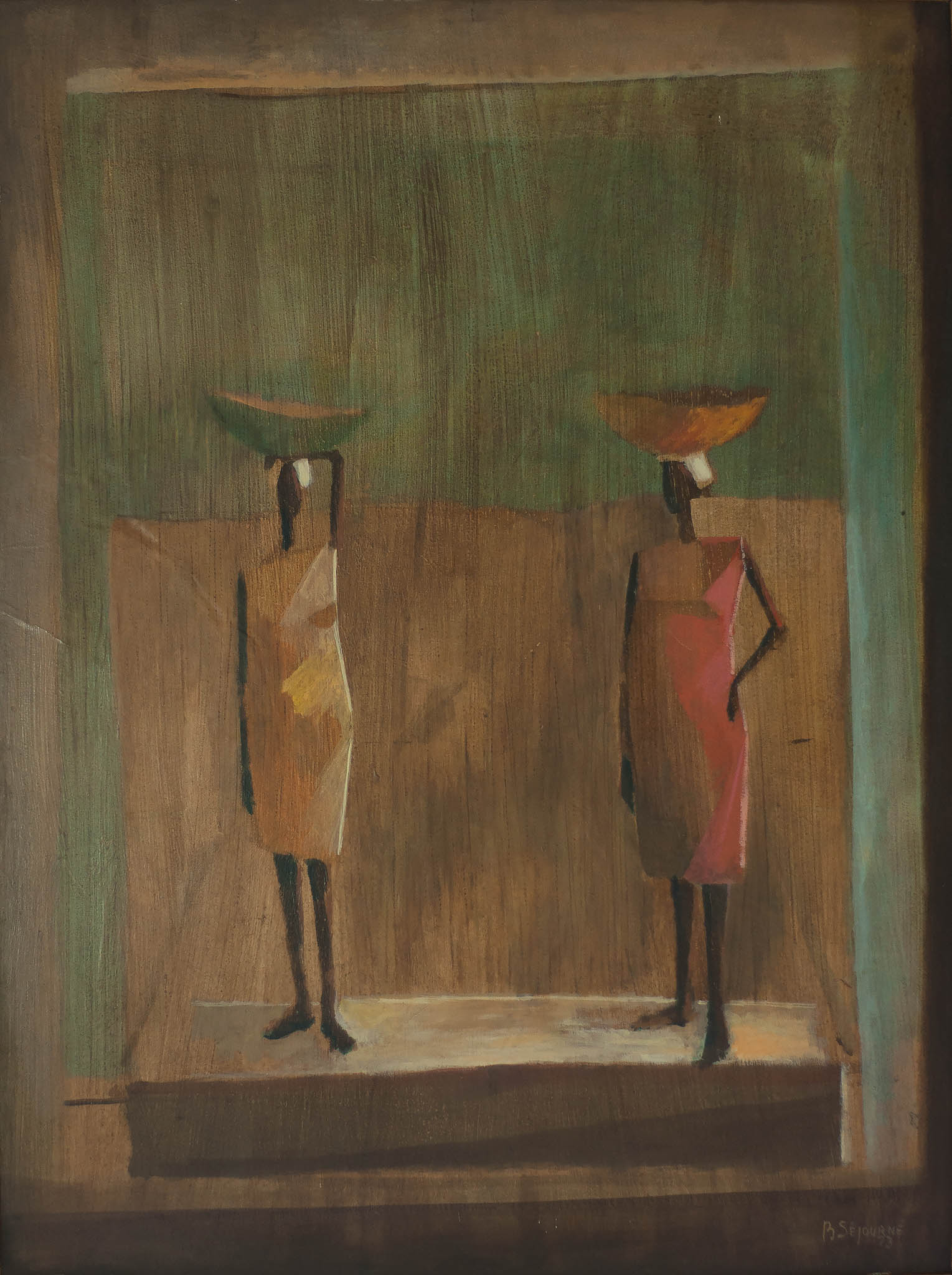 Two Women with Baskets on heads, 1973