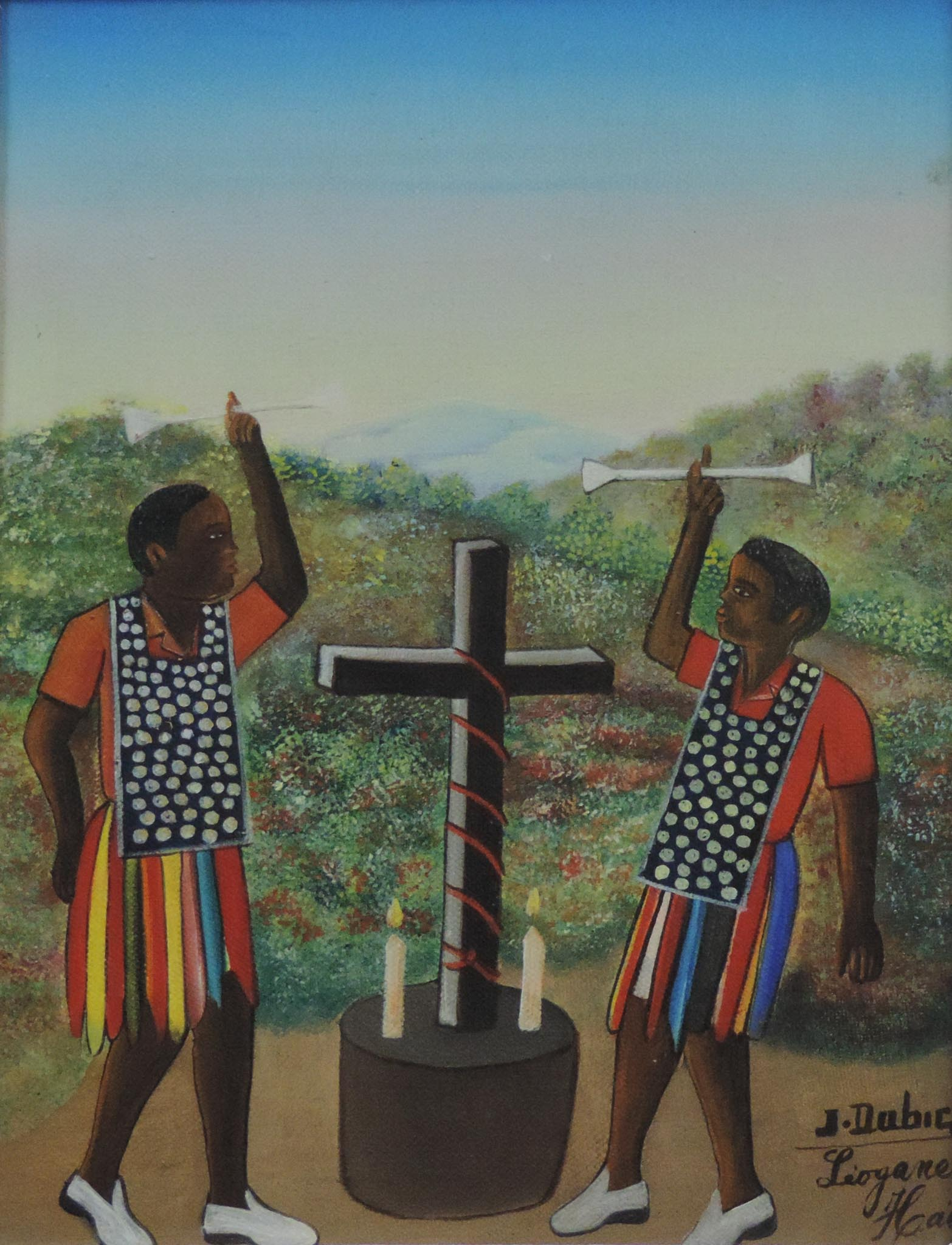 Two Rara Men with Cross, 1980s