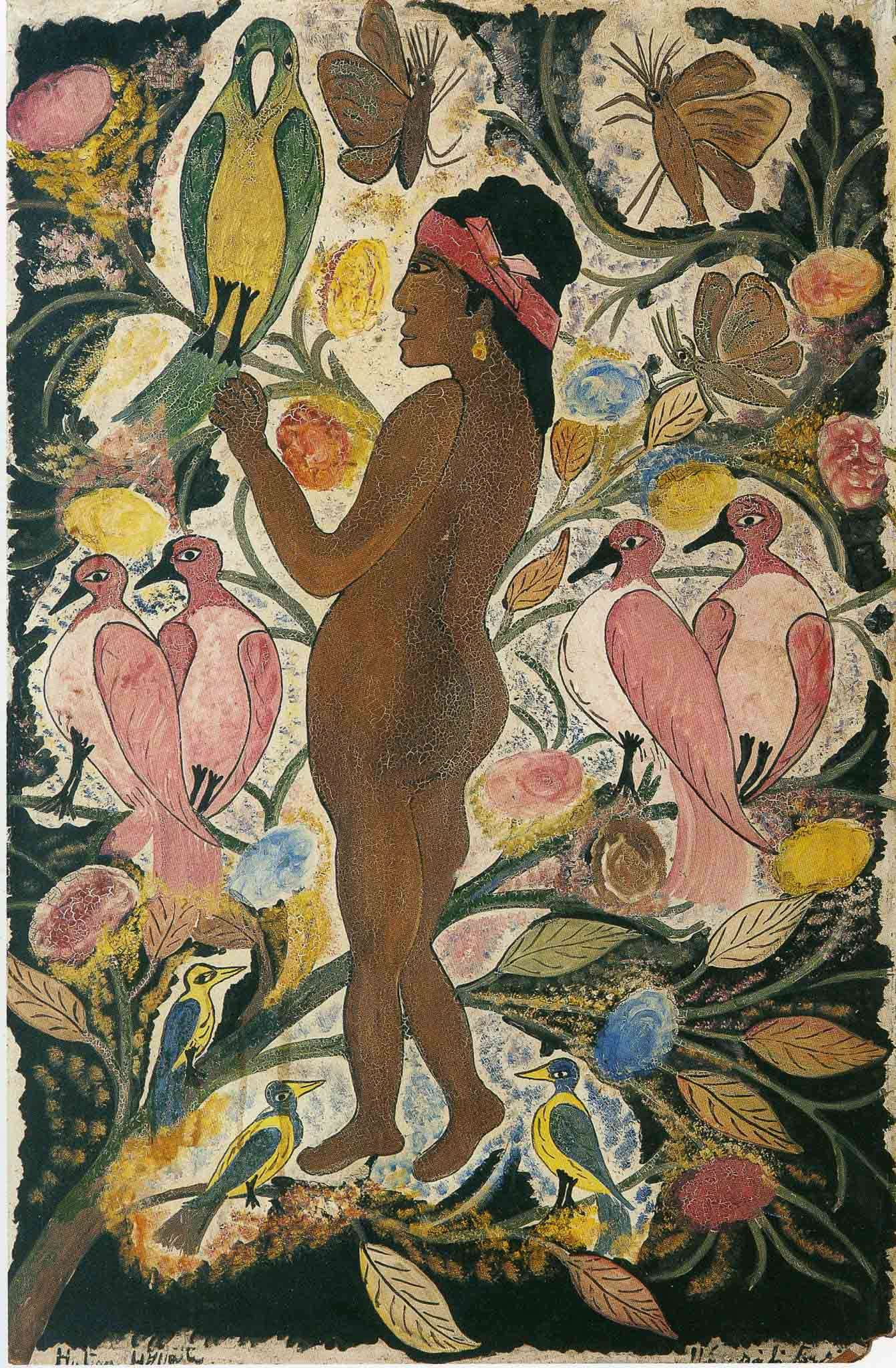 Woman with Flowers and Birds, 1948