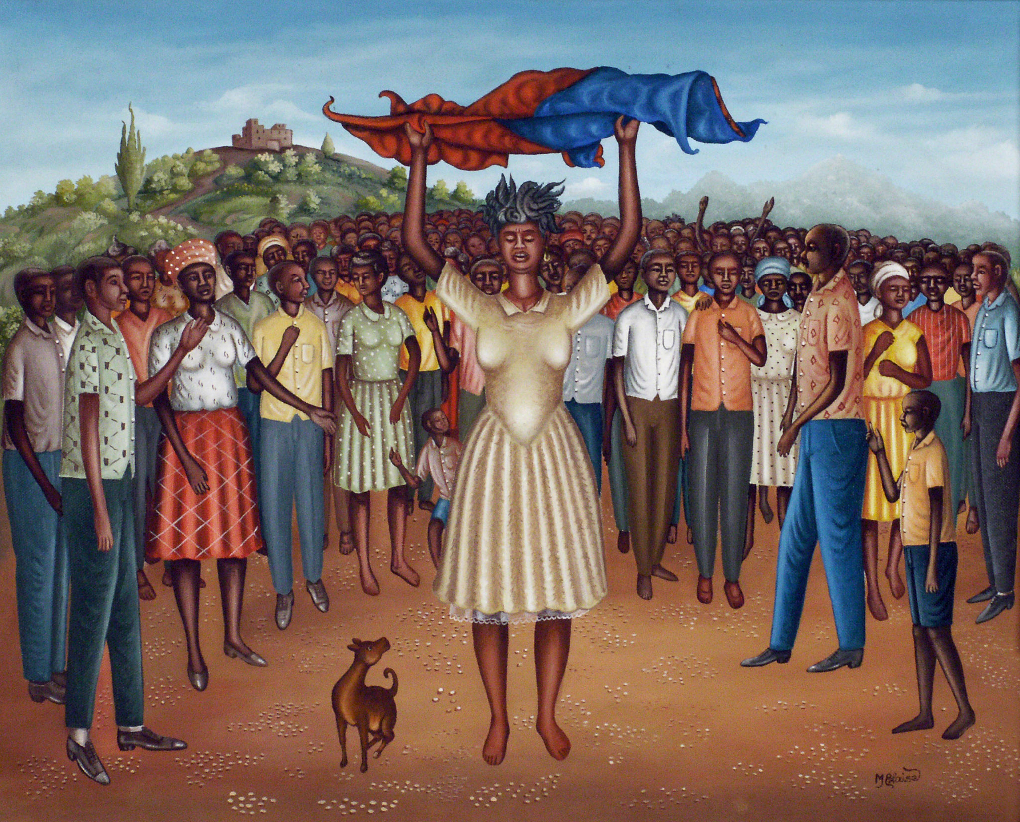 Woman Holding Haitian Flag at rally