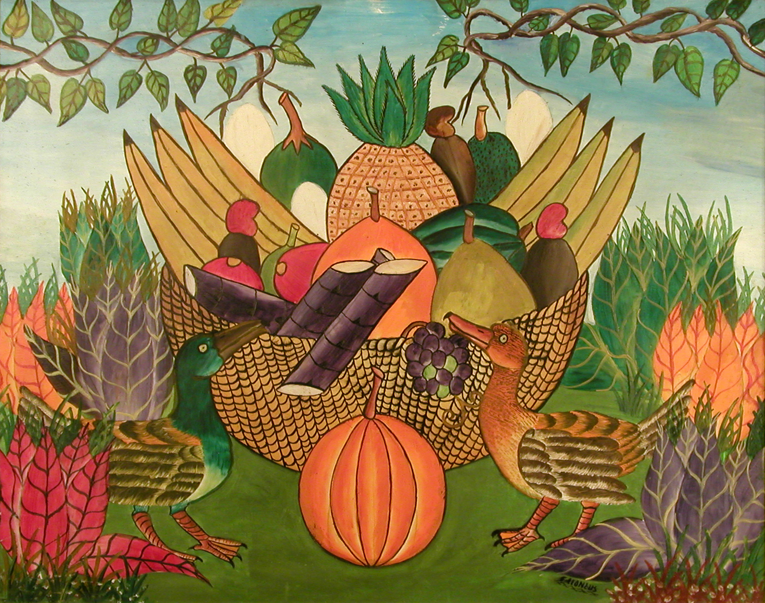 Basket of Fruit with Birds