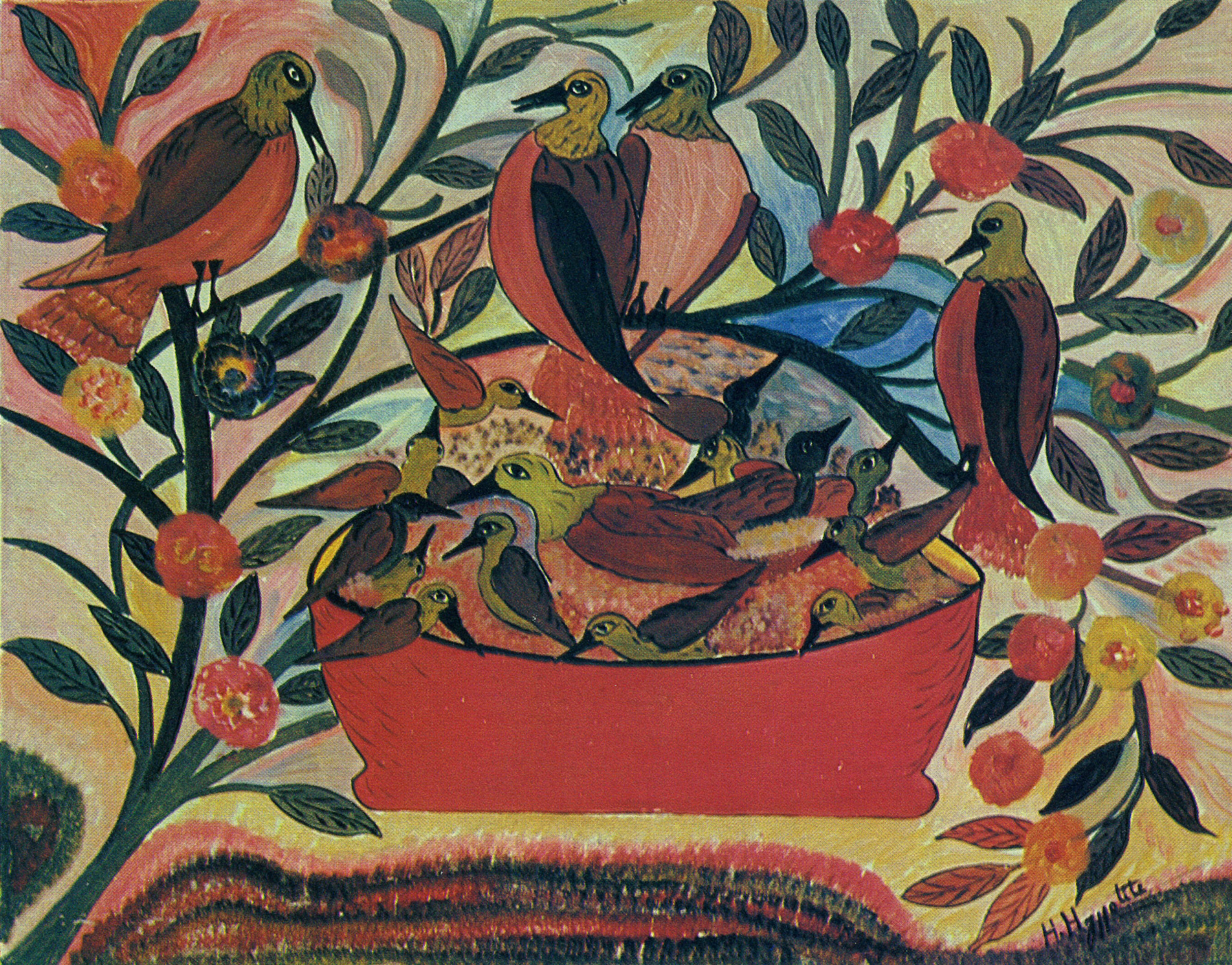 Birds, Flowers and Pink Basket, 1947